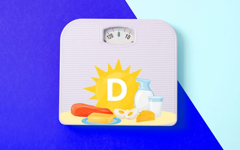 White weigh scales on two tone background, space for text